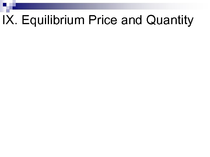 IX. Equilibrium Price and Quantity
