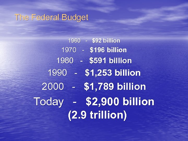 The Federal Budget 1960 - $92 billion 1970 - $196 billion 1980 - $591