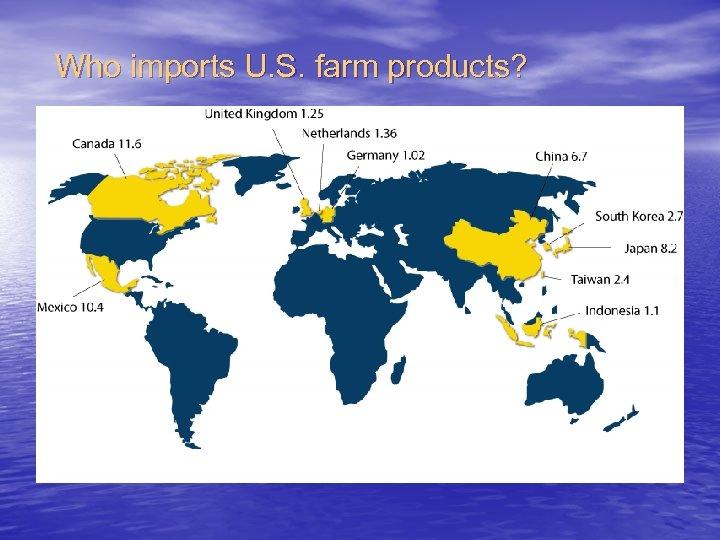 Who imports U. S. farm products?