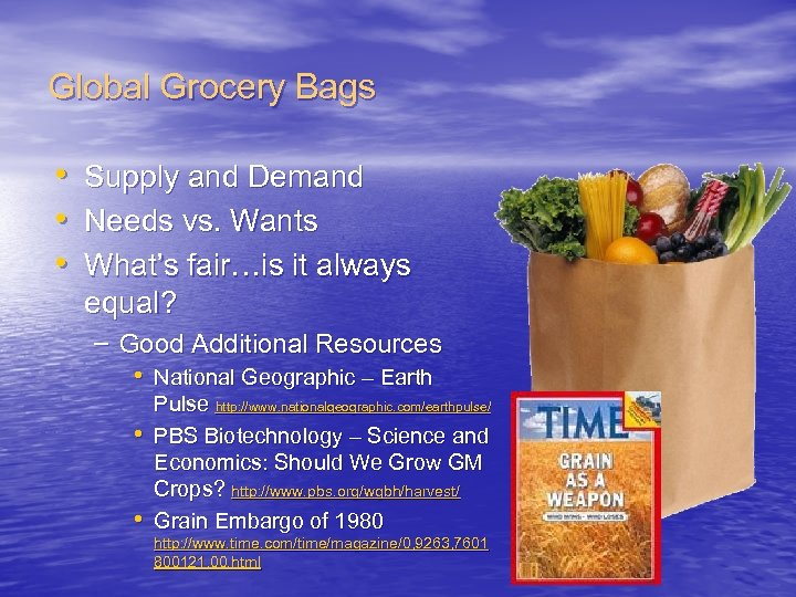 Global Grocery Bags • Supply and Demand • Needs vs. Wants • What's fair…is