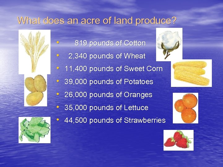 What does an acre of land produce? • • 819 pounds of Cotton 2,