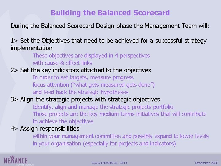 Building the Balanced Scorecard During the Balanced Scorecard Design phase the Management Team will: