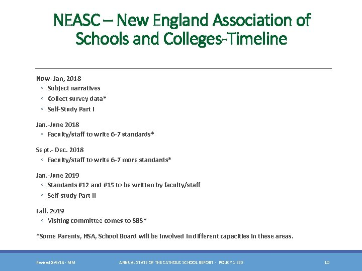 NEASC – New England Association of Schools and Colleges-Timeline Now- Jan, 2018 ◦ Subject