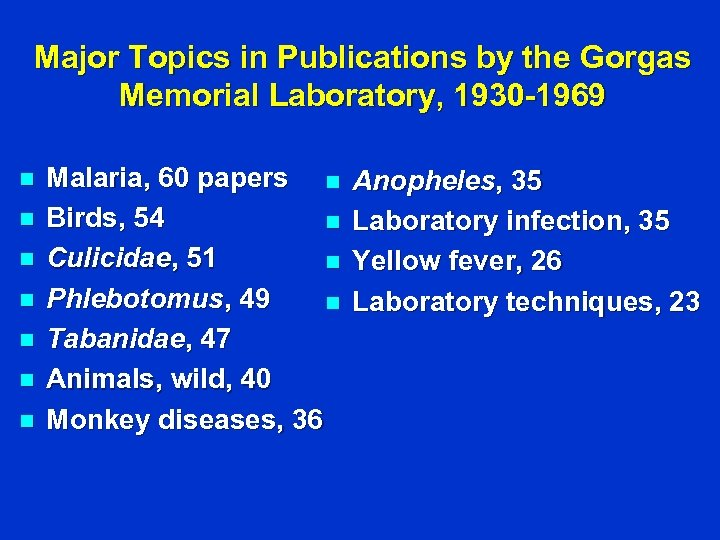 Major Topics in Publications by the Gorgas Memorial Laboratory, 1930 -1969 n n n