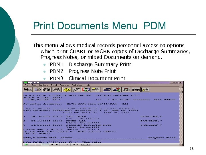 Print Documents Menu PDM This menu allows medical records personnel access to options which