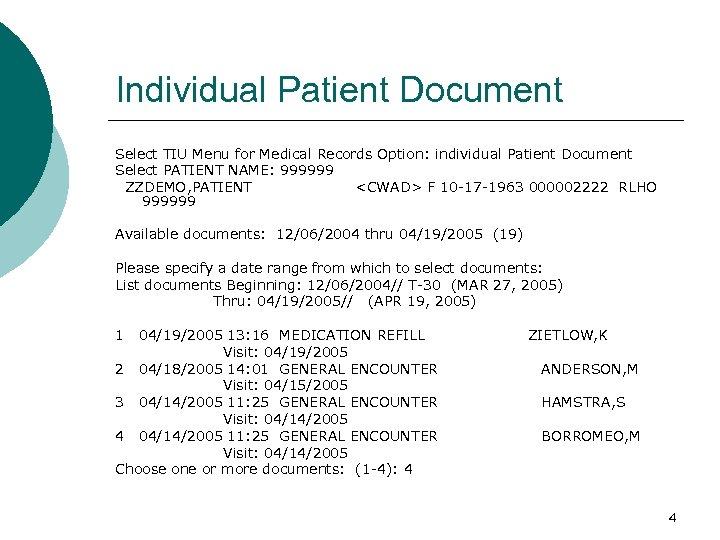 Individual Patient Document Select TIU Menu for Medical Records Option: individual Patient Document Select