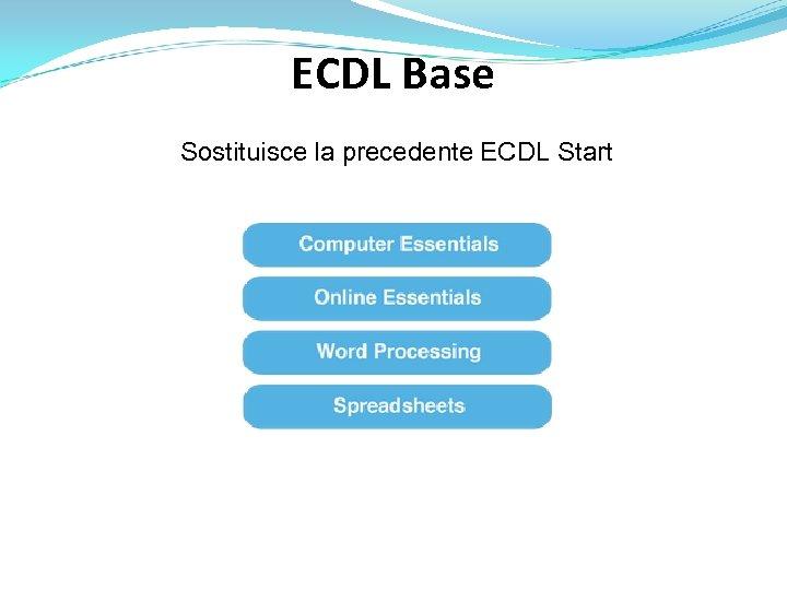ECDL Base Sostituisce la precedente ECDL Start