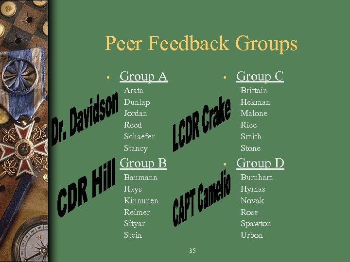 Peer Feedback Groups • Group A • Arata Dunlap Jordan Reed Schaefer Stancy •