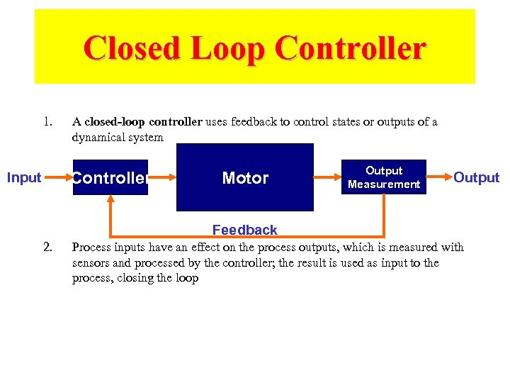 Closed Loop Controller 1. A closed-loop controller uses feedback to control states or outputs