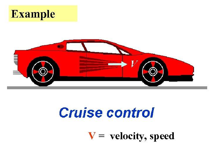Example V = velocity, speed