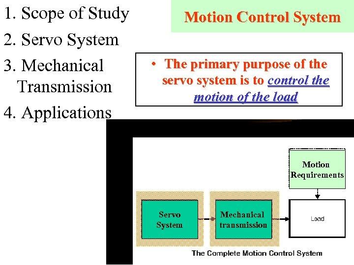 1. Scope of Study 2. Servo System 3. Mechanical Transmission 4. Applications Motion Control