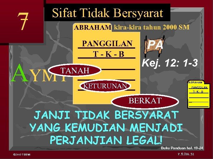 Sifat Tidak Bersyarat 7 ABRAHAM kira-kira tahun 2000 SM AYMY PANGGILAN T-K-B TANAH PA