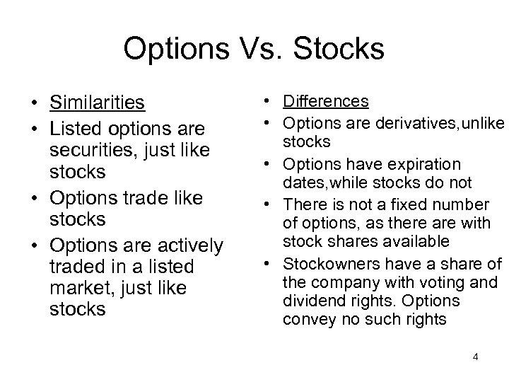 Options Vs. Stocks • Similarities • Listed options are securities, just like stocks •