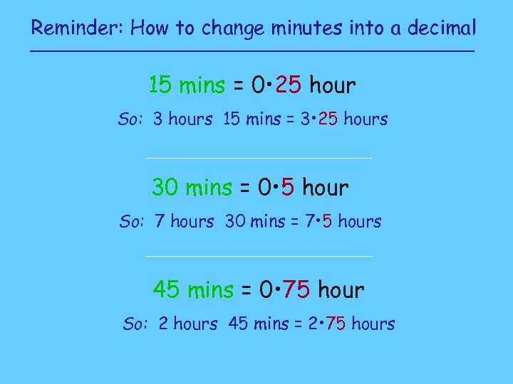 Reminder: How to change minutes into a decimal 15 mins = 0 • 25