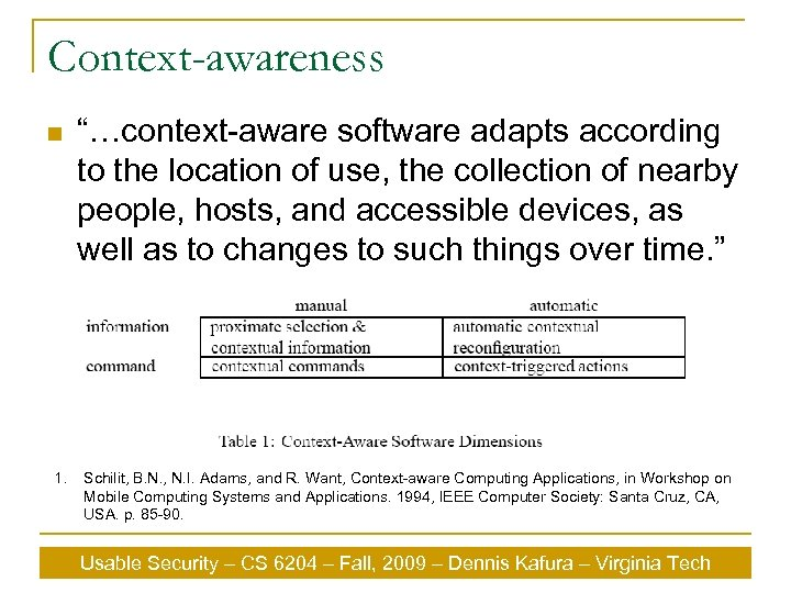 "Context-awareness n 1. ""…context-aware software adapts according to the location of use, the collection"