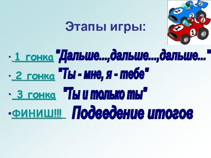 Этапы игры: • 1 гонка • 2 гонка • 3 гонка • ФИНИШ!!!