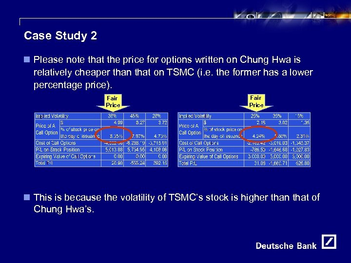 14 Case Study 2 n Please note that the price for options written on