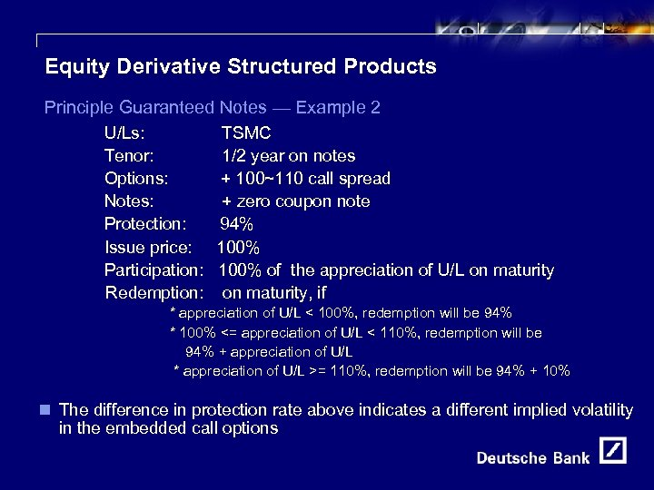 21 Equity Derivative Structured Products Principle Guaranteed Notes — Example 2 U/Ls: Tenor: Options: