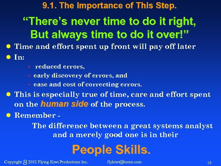 "9. 1. The Importance of This Step. ""There's never time to do it right,"