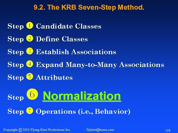 9. 2. The KRB Seven-Step Method. Step Candidate Classes Step Define Classes Step Establish