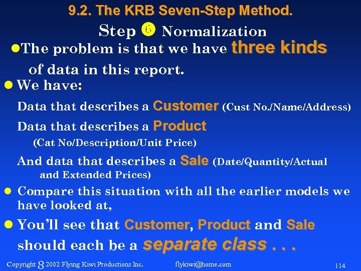 9. 2. The KRB Seven-Step Method. Step Normalization l. The problem is that we