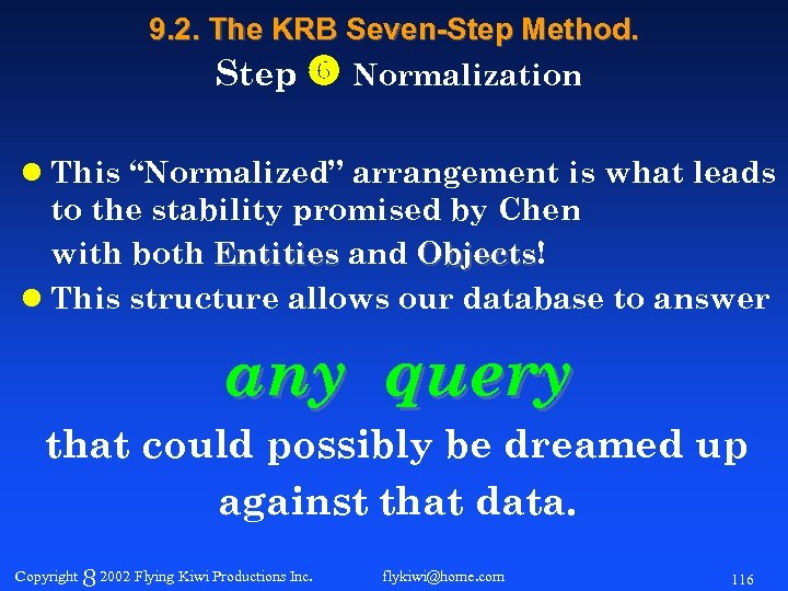 "9. 2. The KRB Seven-Step Method. Step Normalization l This ""Normalized"" arrangement is what"