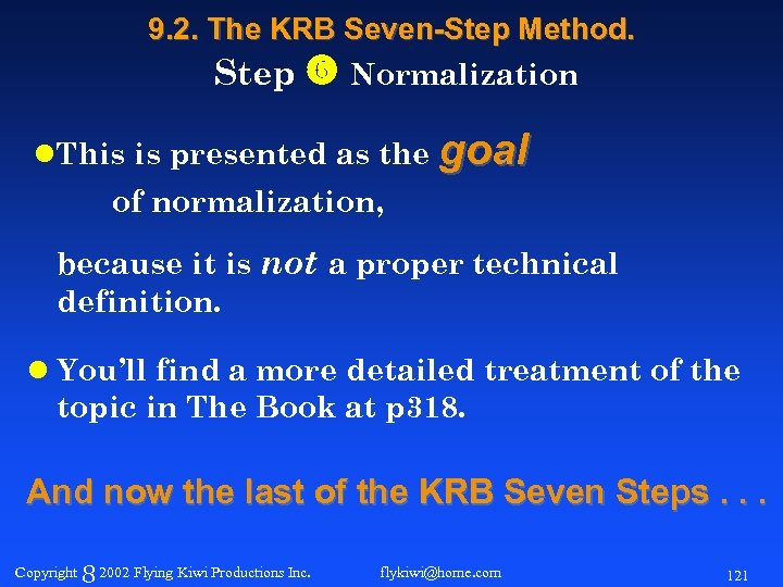 9. 2. The KRB Seven-Step Method. Step Normalization l. This is presented as the