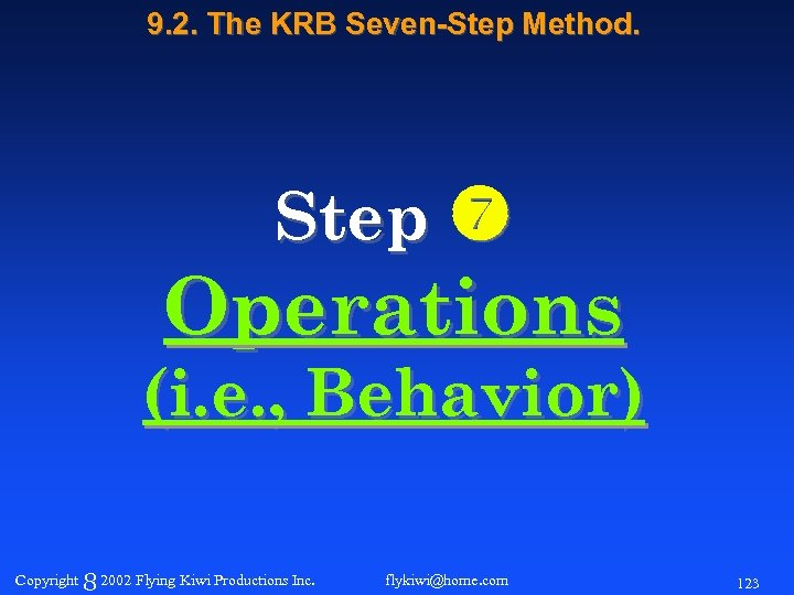 9. 2. The KRB Seven-Step Method. Step Operations (i. e. , Behavior) Copyright 8