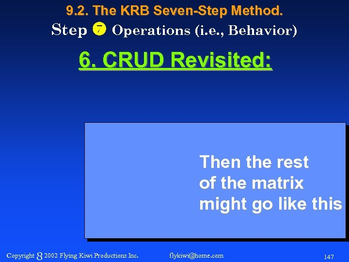9. 2. The KRB Seven-Step Method. Step Operations (i. e. , Behavior) 6. CRUD