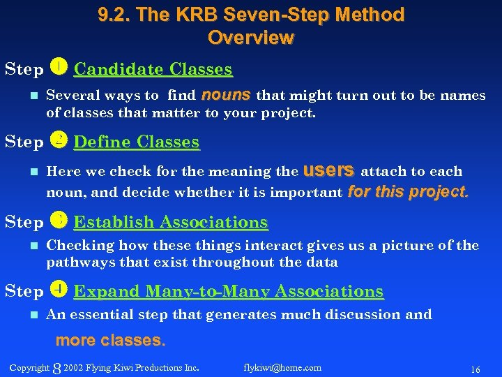 9. 2. The KRB Seven-Step Method Overview Step Candidate Classes n Several ways to
