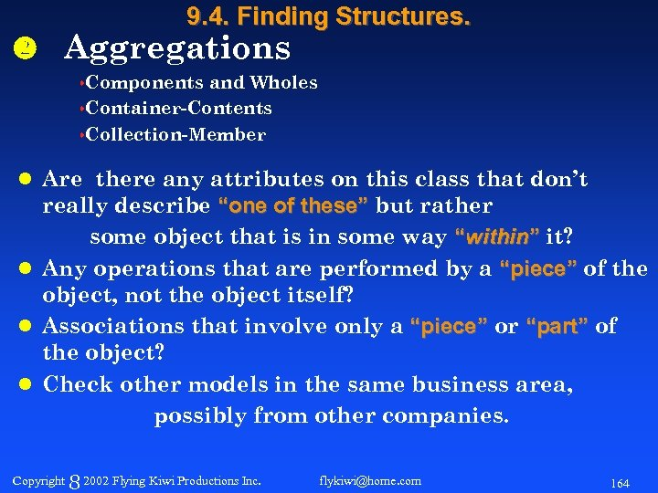 9. 4. Finding Structures. Aggregations s. Components and Wholes s. Container-Contents s. Collection-Member l