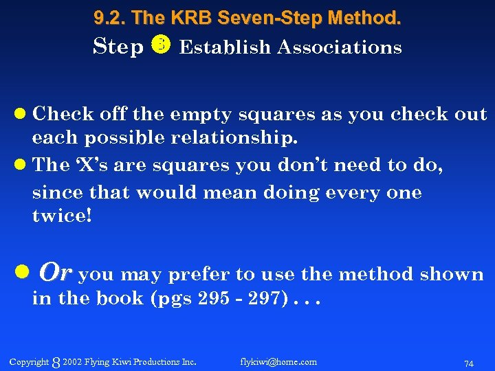 9. 2. The KRB Seven-Step Method. Step Establish Associations l Check off the empty