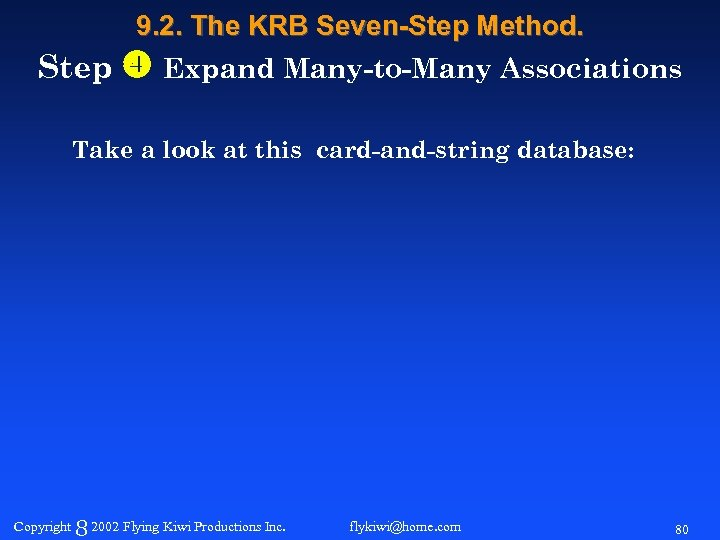 9. 2. The KRB Seven-Step Method. Step Expand Many-to-Many Associations Take a look at