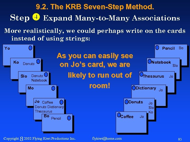 9. 2. The KRB Seven-Step Method. Step Expand Many-to-Many Associations More realistically, we could