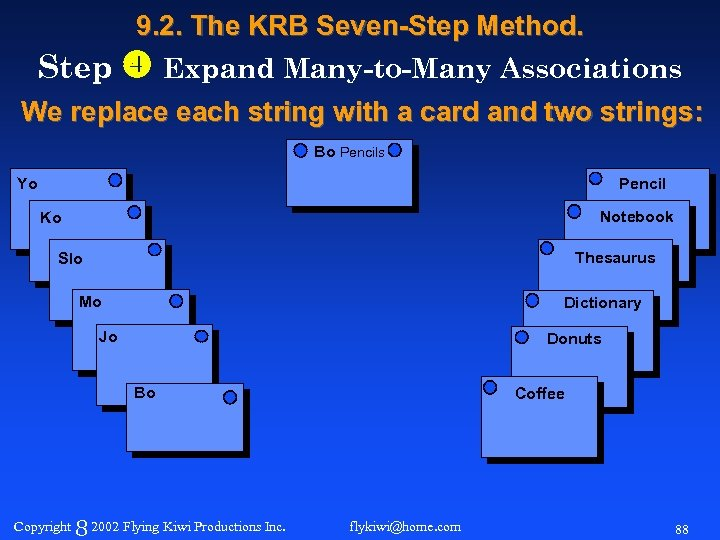 9. 2. The KRB Seven-Step Method. Step Expand Many-to-Many Associations We replace each string