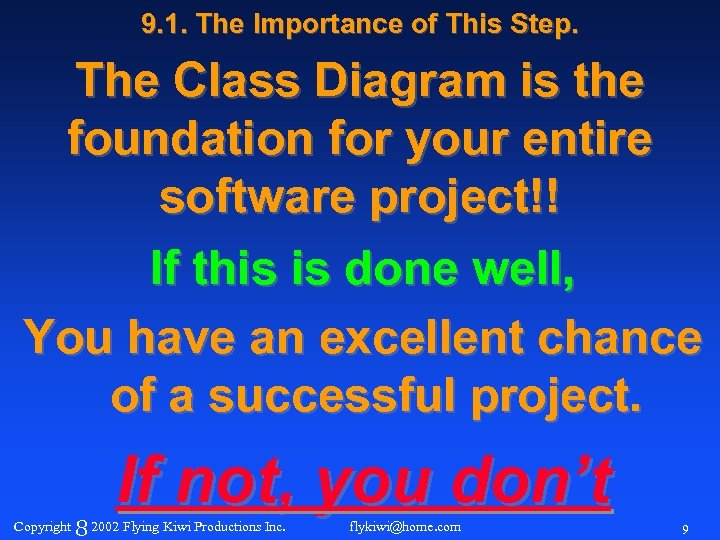 9. 1. The Importance of This Step. The Class Diagram is the foundation for