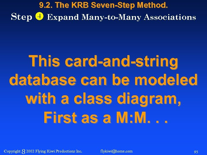 9. 2. The KRB Seven-Step Method. Step Expand Many-to-Many Associations This card-and-string database can