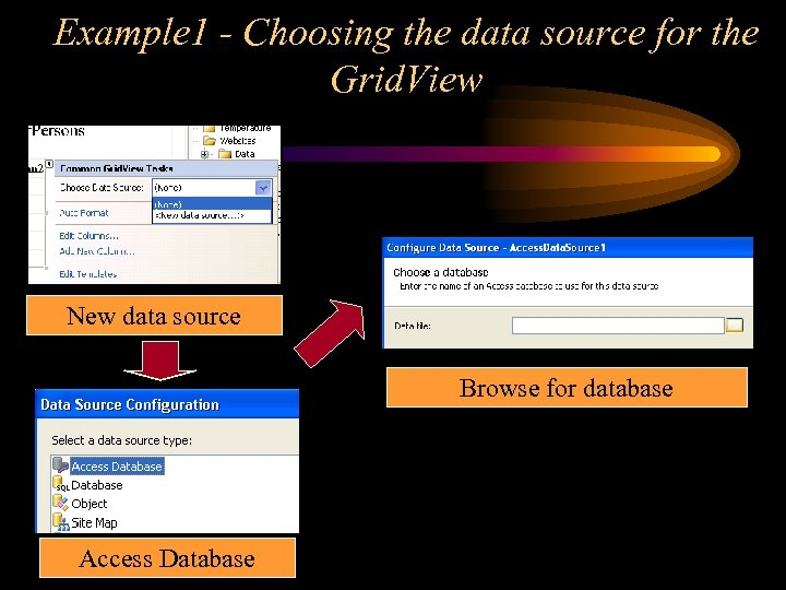 Example 1 - Choosing the data source for the Grid. View New data source