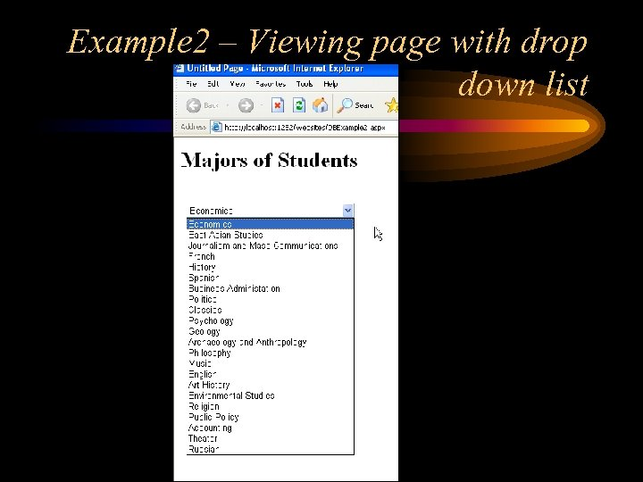 Example 2 – Viewing page with drop down list