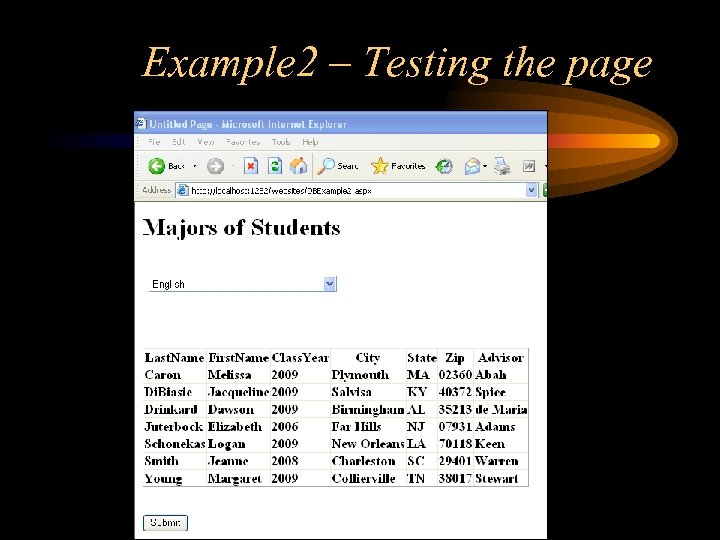 Example 2 – Testing the page