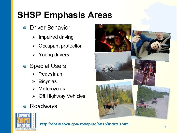 SHSP Emphasis Areas Driver Behavior Ø Impaired driving Ø Occupant protection Ø Young drivers