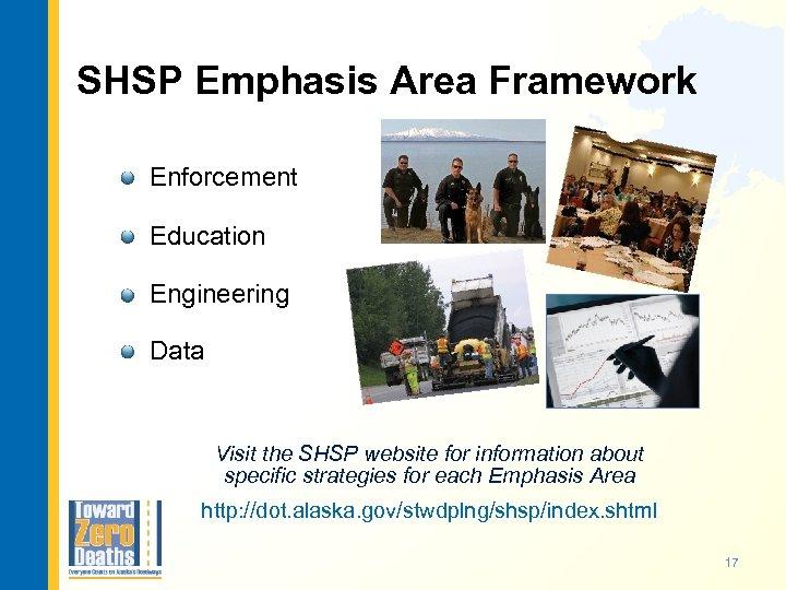 SHSP Emphasis Area Framework Enforcement Education Engineering Data Visit the SHSP website for information
