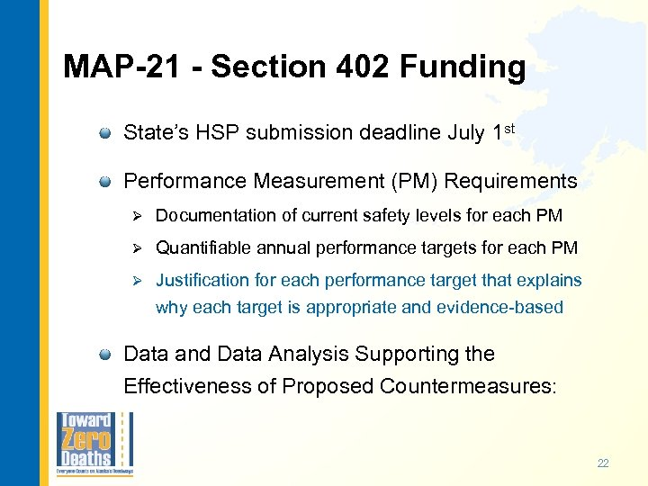 MAP-21 - Section 402 Funding State's HSP submission deadline July 1 st Performance Measurement