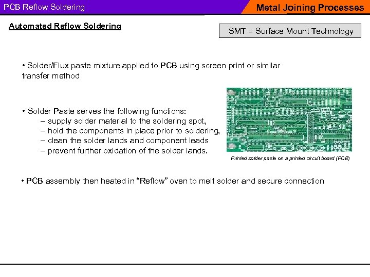 PCB Reflow Soldering Automated Reflow Soldering Metal Joining Processes SMT = Surface Mount Technology