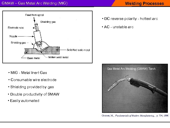GMAW – Gas Metal Arc Welding (MIG) Welding Processes • DC reverse polarity -