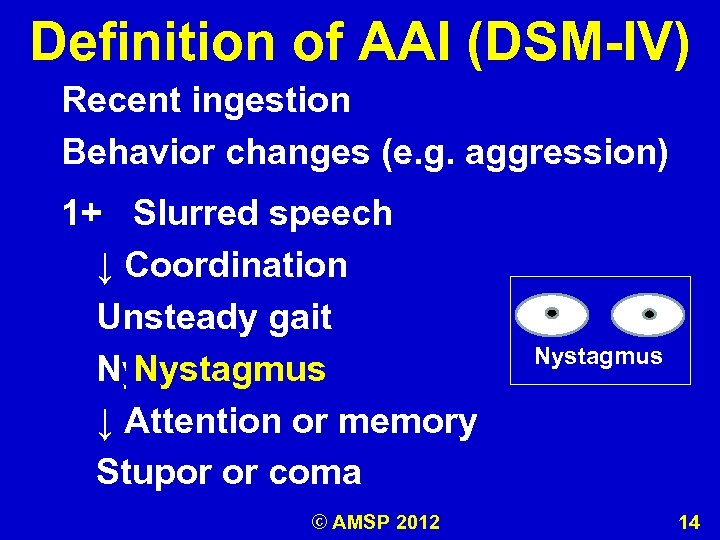 Definition of AAI (DSM-IV) Recent ingestion Behavior changes (e. g. aggression) 1+ Slurred speech