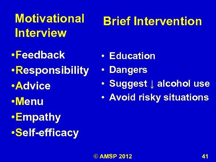 Motivational Interview • Feedback • Responsibility • Advice • Menu • Empathy • Self-efficacy