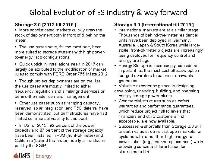 Global Evolution of ES industry & way forward Storage 3. 0 [2012 till 2015