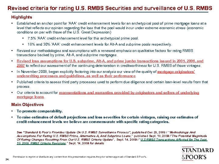 Revised criteria for rating U. S. RMBS Securities and surveillance of U. S. RMBS