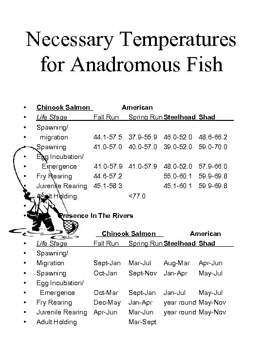 Necessary Temperatures for Anadromous Fish • • • • • • Chinook Salmon Life